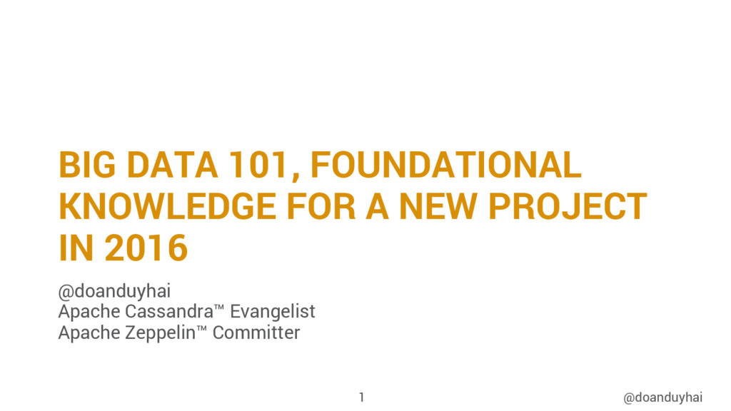 BIG DATA 101, FOUNDATIONAL KNOWLEDGE FOR A NEW ...