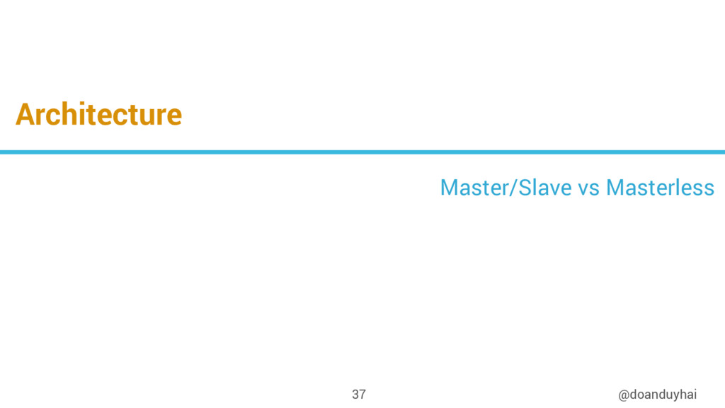 Architecture @doanduyhai 37 Master/Slave vs Mas...