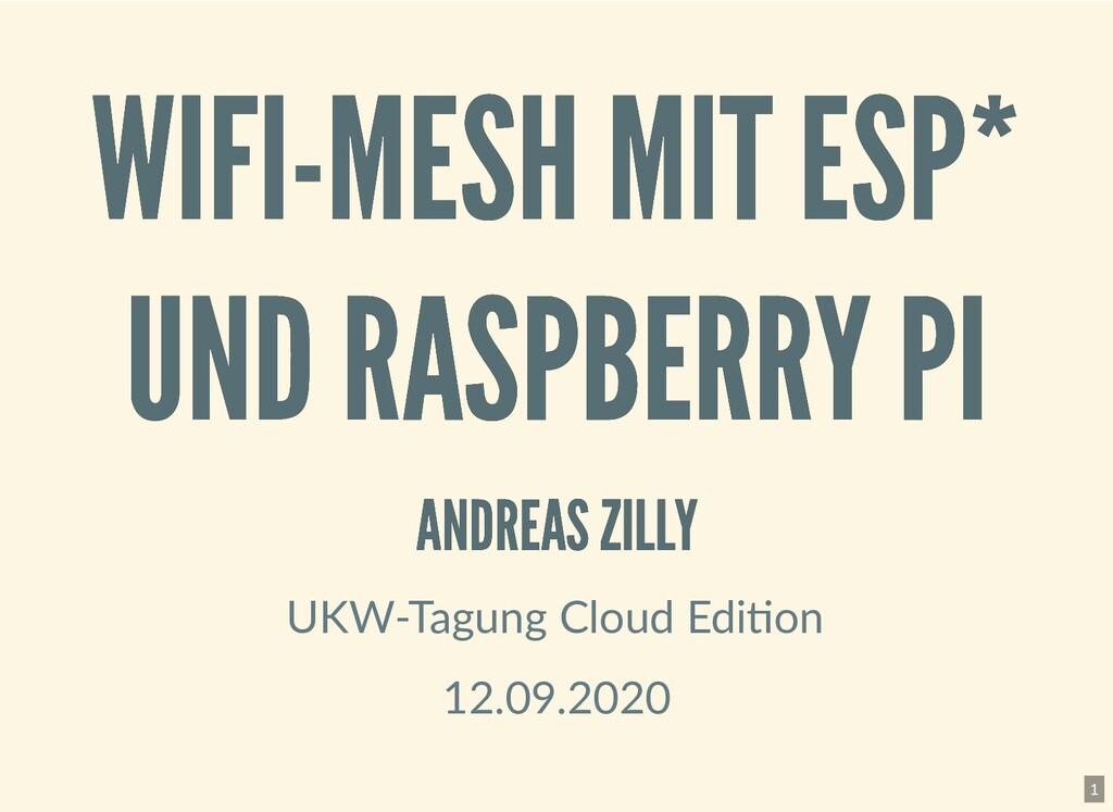 WIFI-MESH MIT ESP* WIFI-MESH MIT ESP* UND RASPB...
