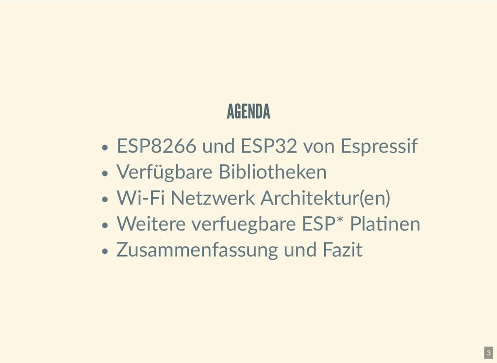 AGENDA AGENDA ESP8266 und ESP32 von Espressif V...