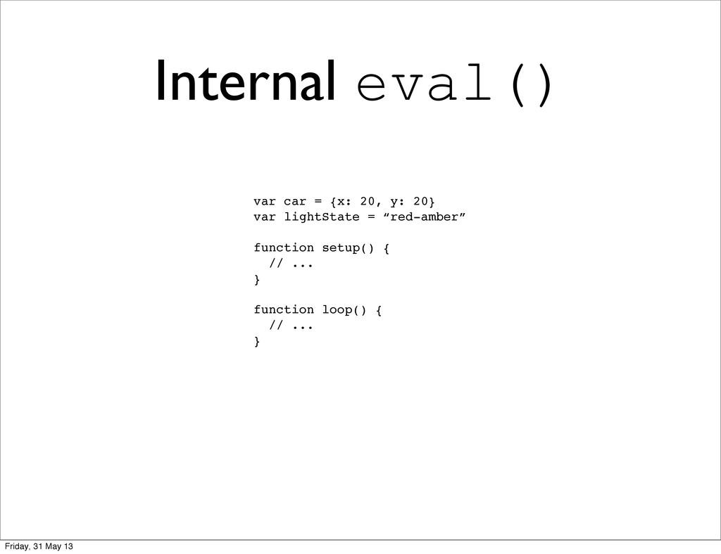 Internal eval() var car = {x: 20, y: 20} var li...