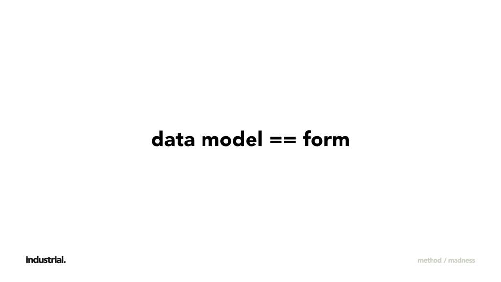 data model == form