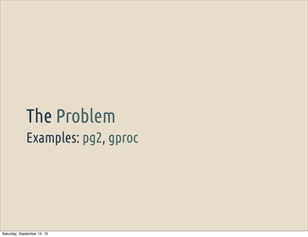 Examples: pg2, gproc The Problem Saturday, Sept...
