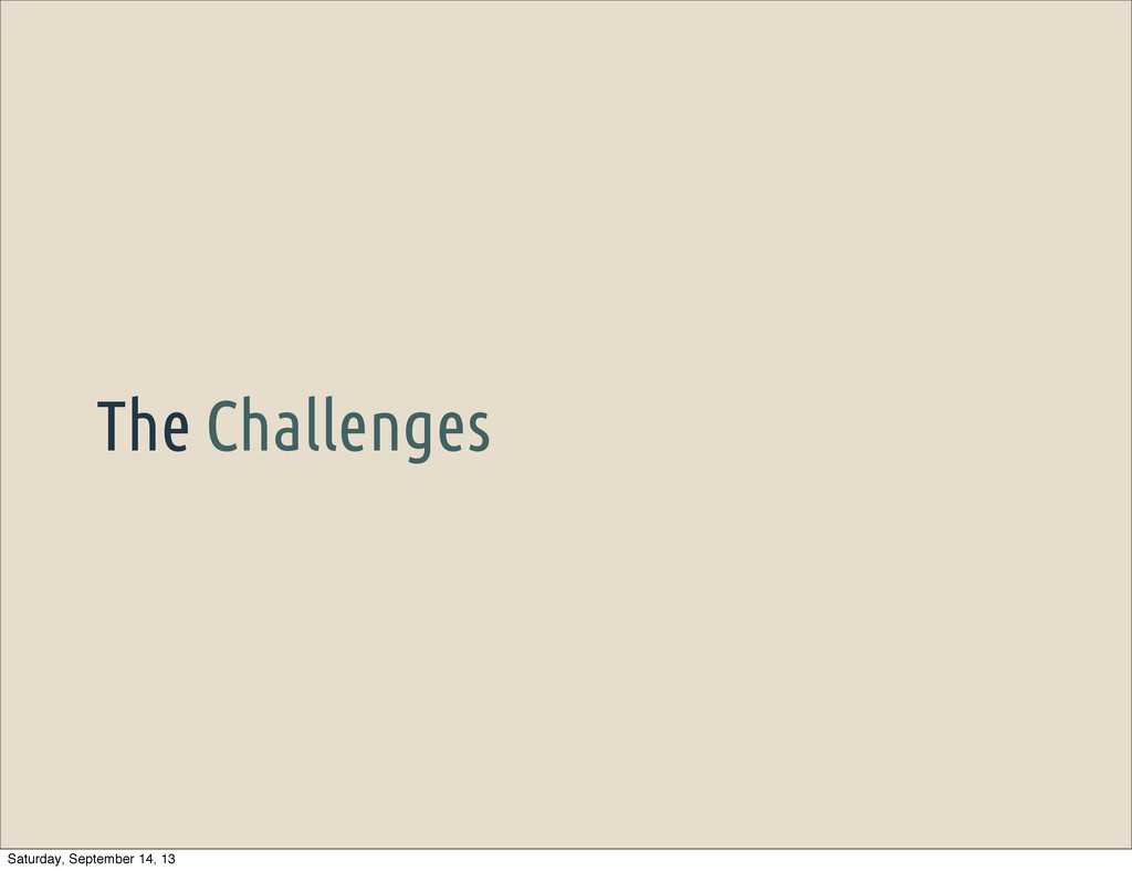 The Challenges Saturday, September 14, 13