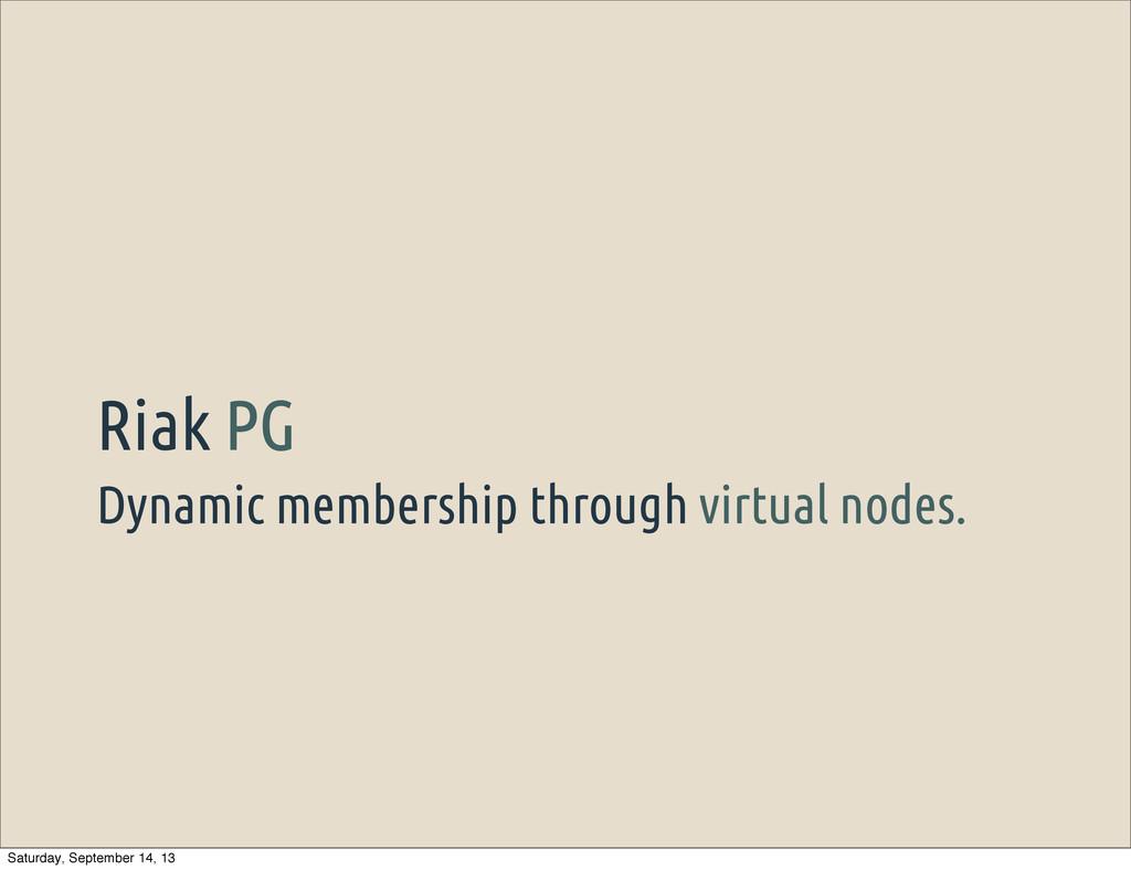 Dynamic membership through virtual nodes. Riak ...