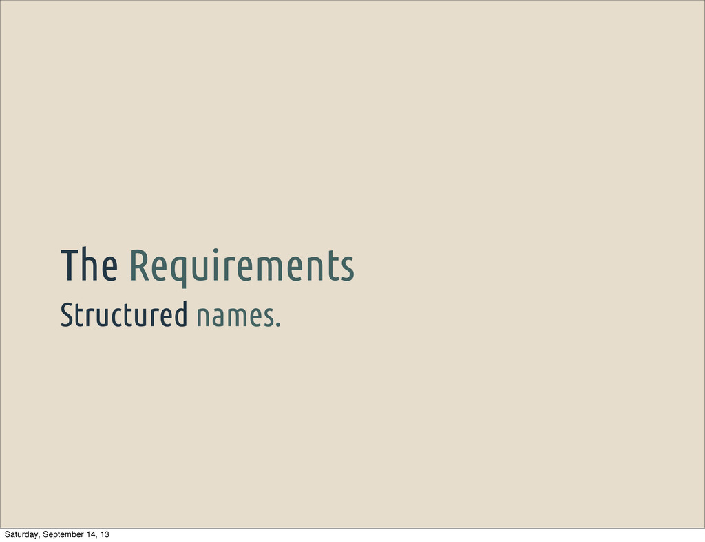 Structured names. The Requirements Saturday, Se...