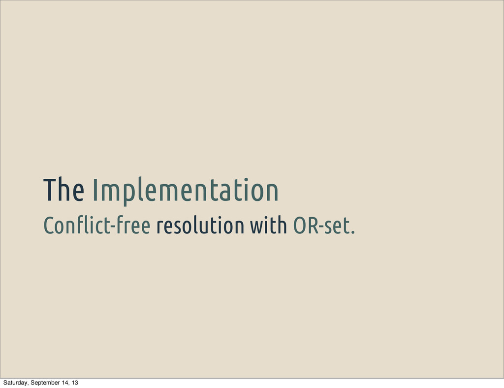 """Con""""ict-free resolution with OR-set. The Implem..."""