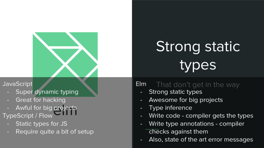 elm Strong static types That don't get in the w...