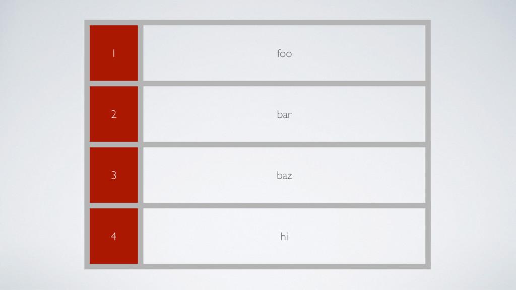 1 foo 2 bar 3 baz 4 hi