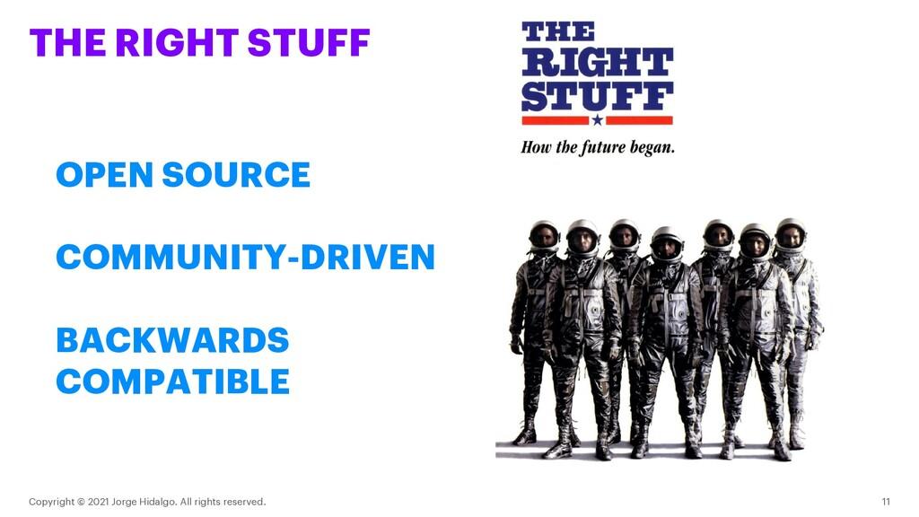 THE RIGHT STUFF Copyright © 2021 Jorge Hidalgo....