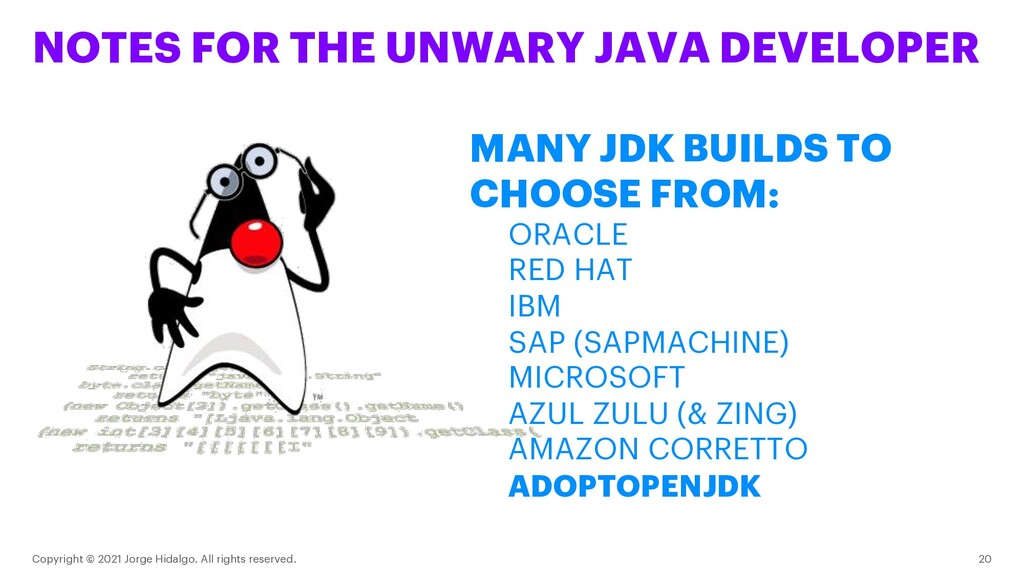 NOTES FOR THE UNWARY JAVA DEVELOPER Copyright ©...