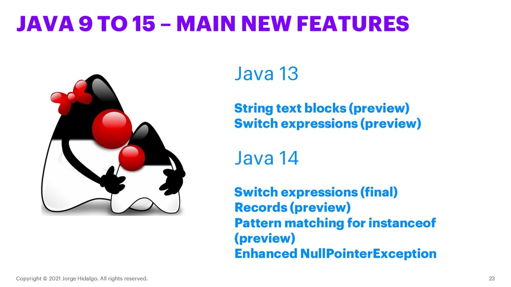 JAVA 9 TO 15 – MAIN NEW FEATURES Copyright © 20...