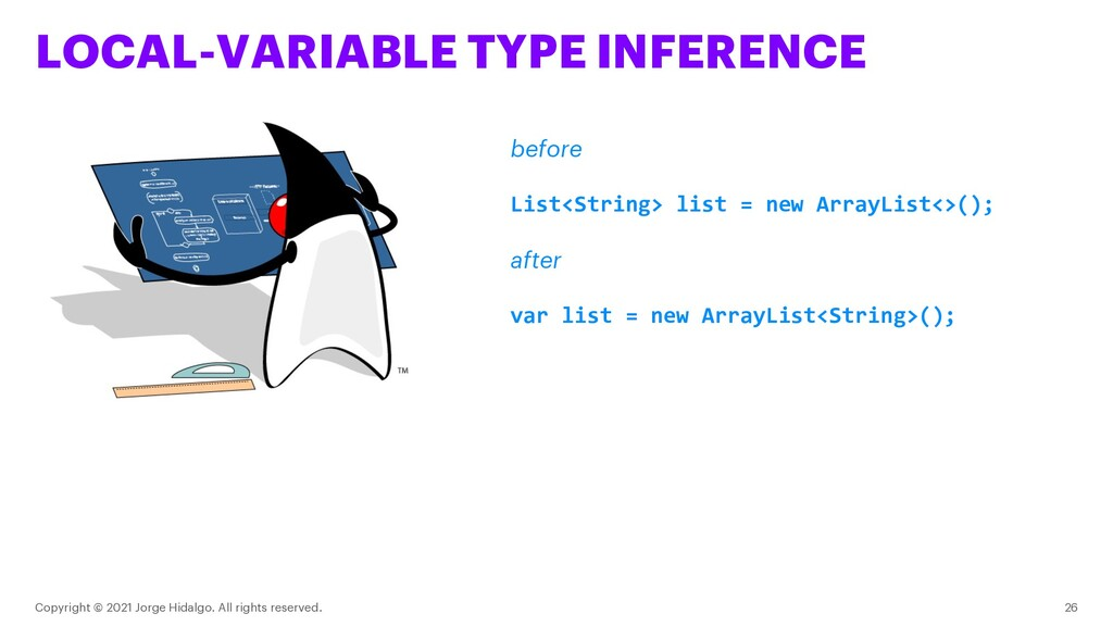 LOCAL-VARIABLE TYPE INFERENCE Copyright © 2021 ...