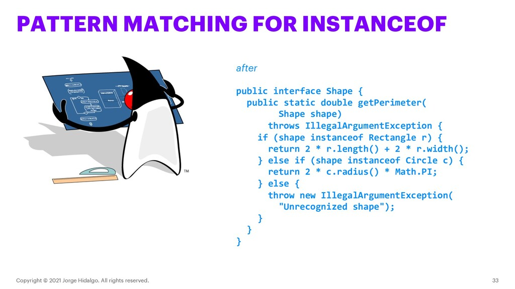 PATTERN MATCHING FOR INSTANCEOF Copyright © 202...