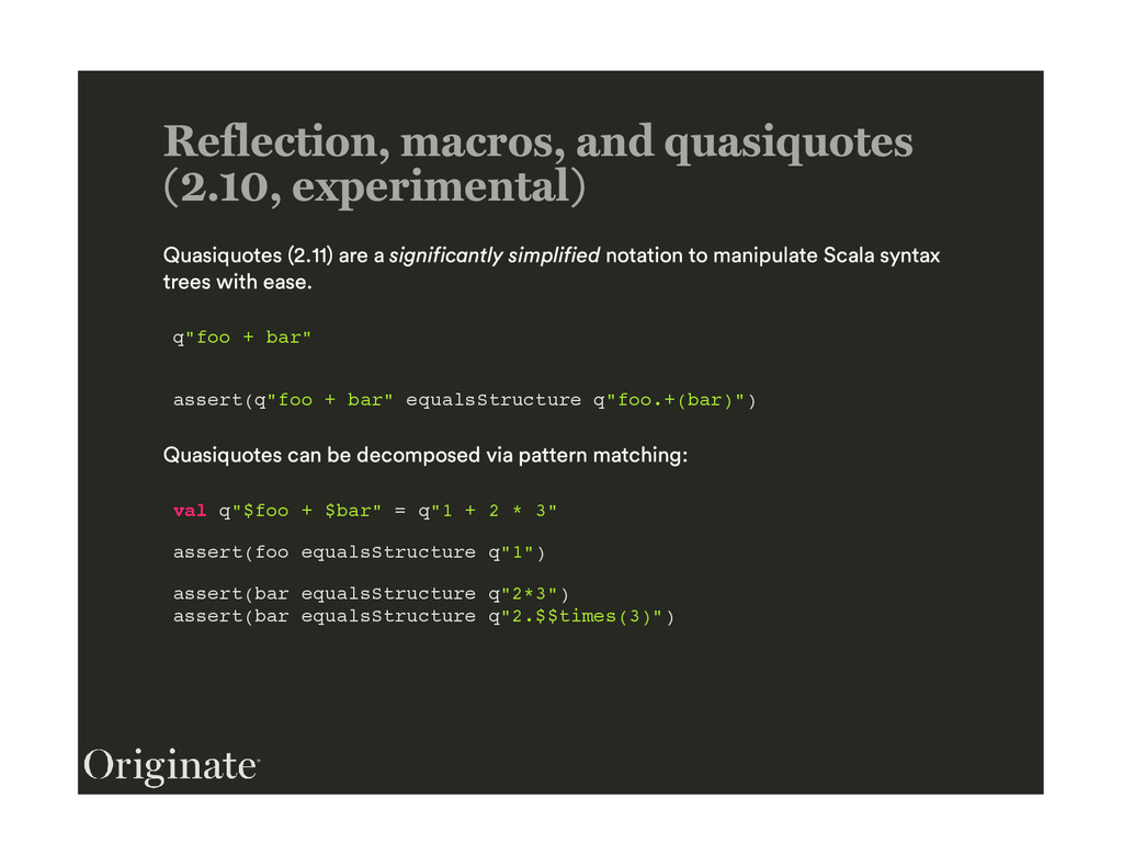 """q""""foo + bar"""" assert(q""""foo + bar"""" equalsStructur..."""