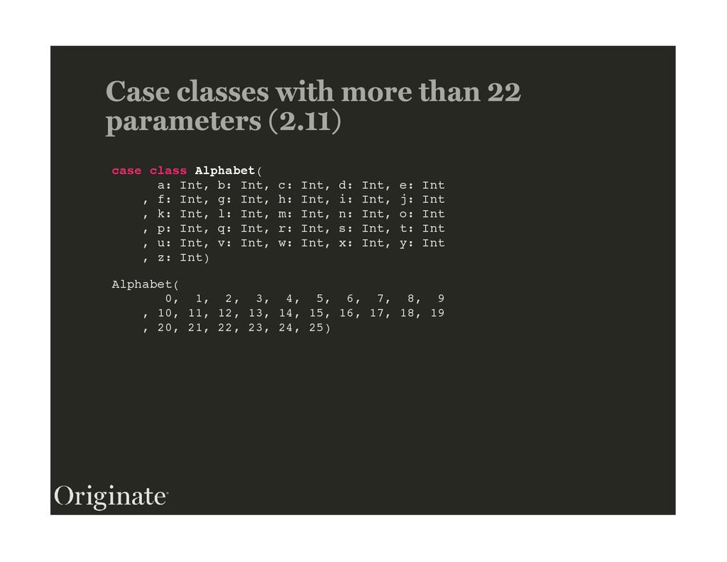 case class Alphabet( a: Int, b: Int, c: Int, d:...