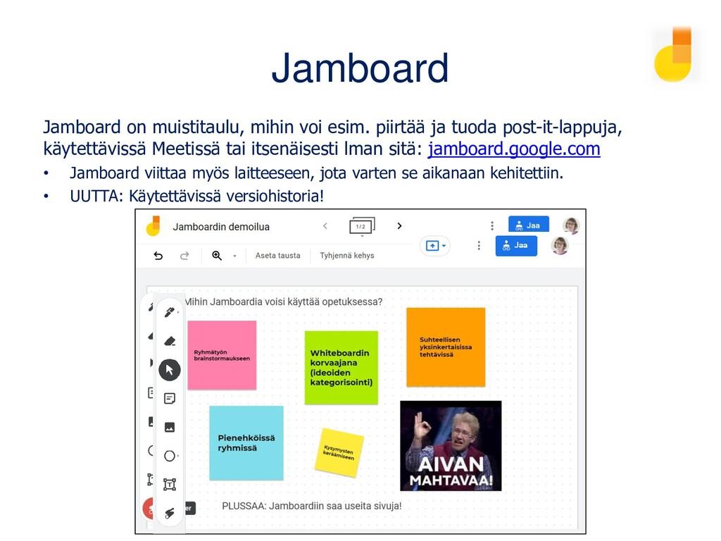 Jamboard Jamboard on Googlen muistitaulu, mihin...