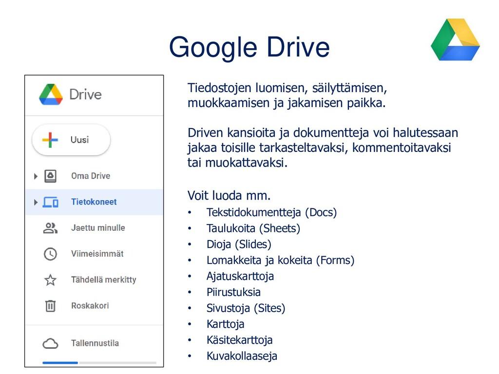 Google Drive Tiedostojen luomisen, säilyttämise...