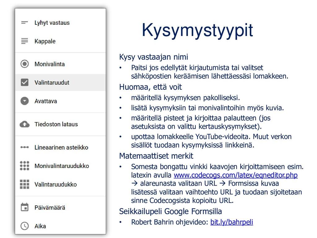 Forms-lomakkeen toiminnot Nimeä lomake Kysymyst...