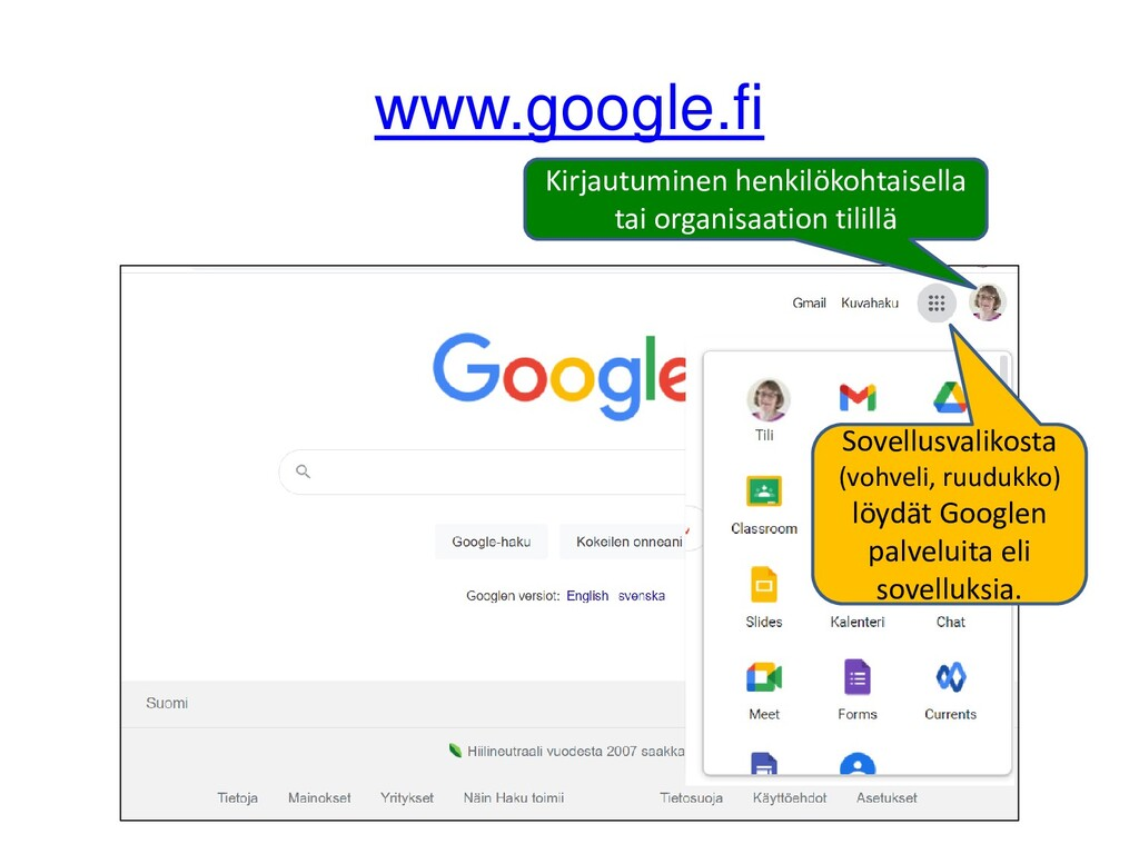Henkilökohtainen Google-tili Sinulla on Google-...