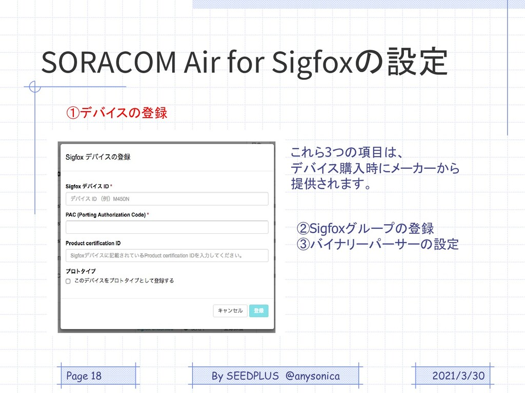 SORACOM Air for Sigfoxの設定 2021/3/30 Page 18 これら...