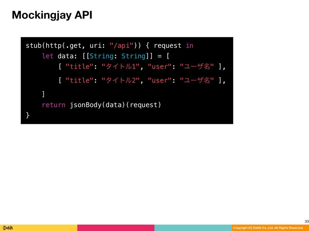 Mockingjay API 33 Copyright (C) DeNA Co.,Ltd. A...