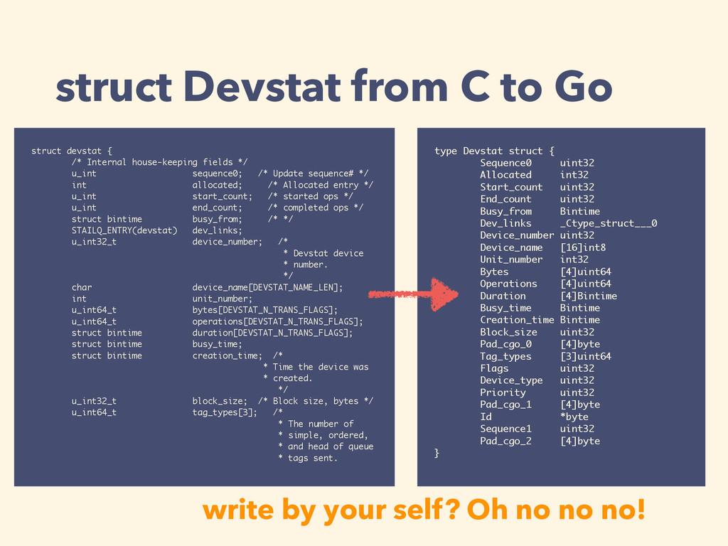 struct Devstat from C to Go type Devstat struct...
