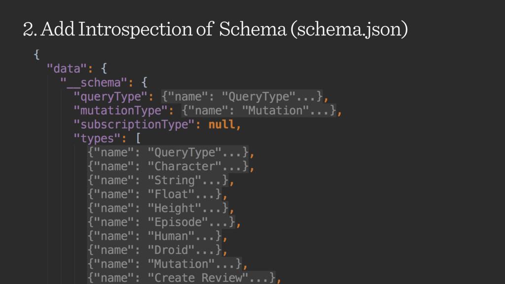 2. Add Introspection of Schema (schema.json)