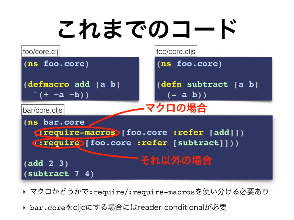 (ns bar.core (:require-macros [foo.core :refer ...