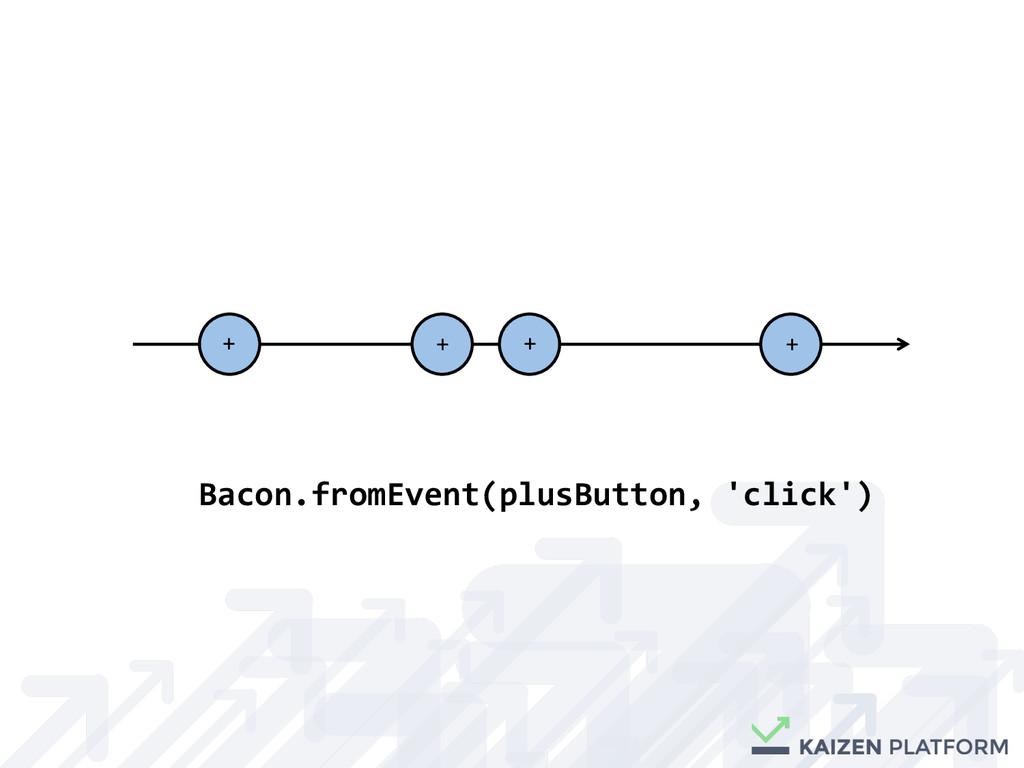 + + + + Bacon.fromEvent(plusButton, ...