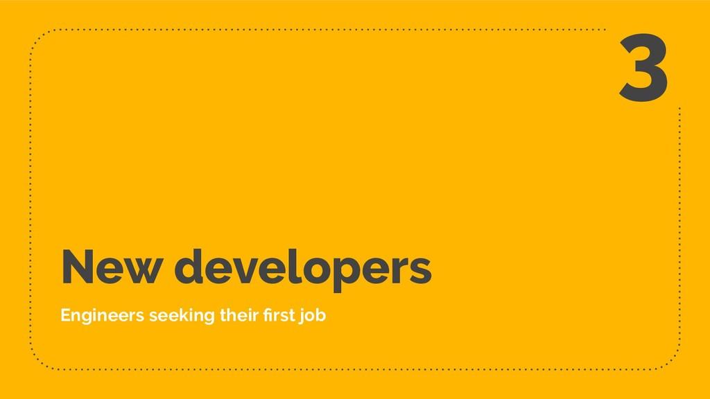 New developers Engineers seeking their first job...