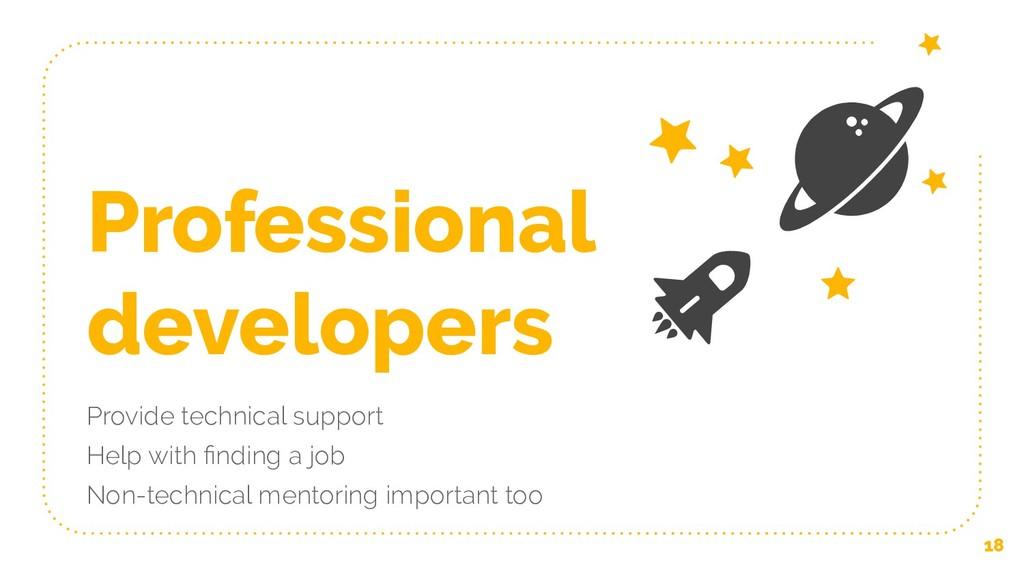 Professional developers Provide technical suppo...