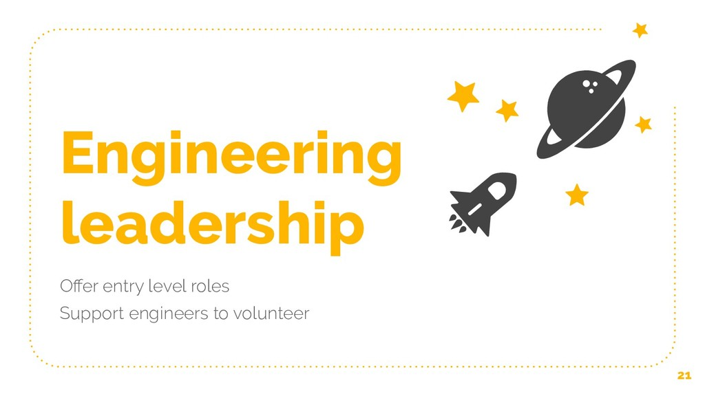 Engineering leadership Offer entry level roles S...