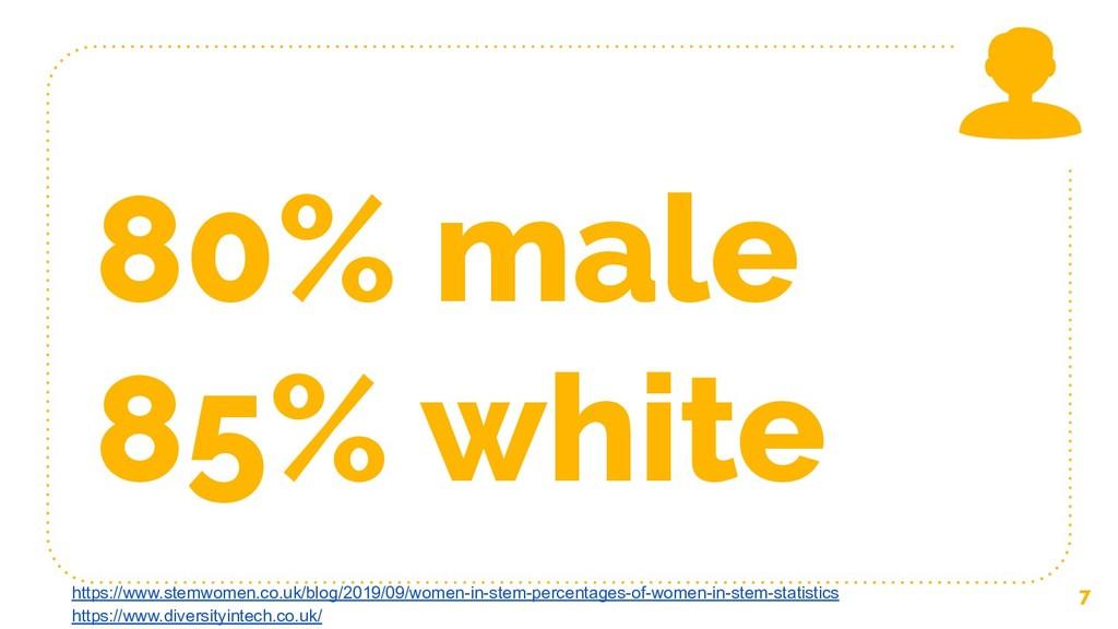 80% male 85% white 7 https://www.stemwomen.co.u...