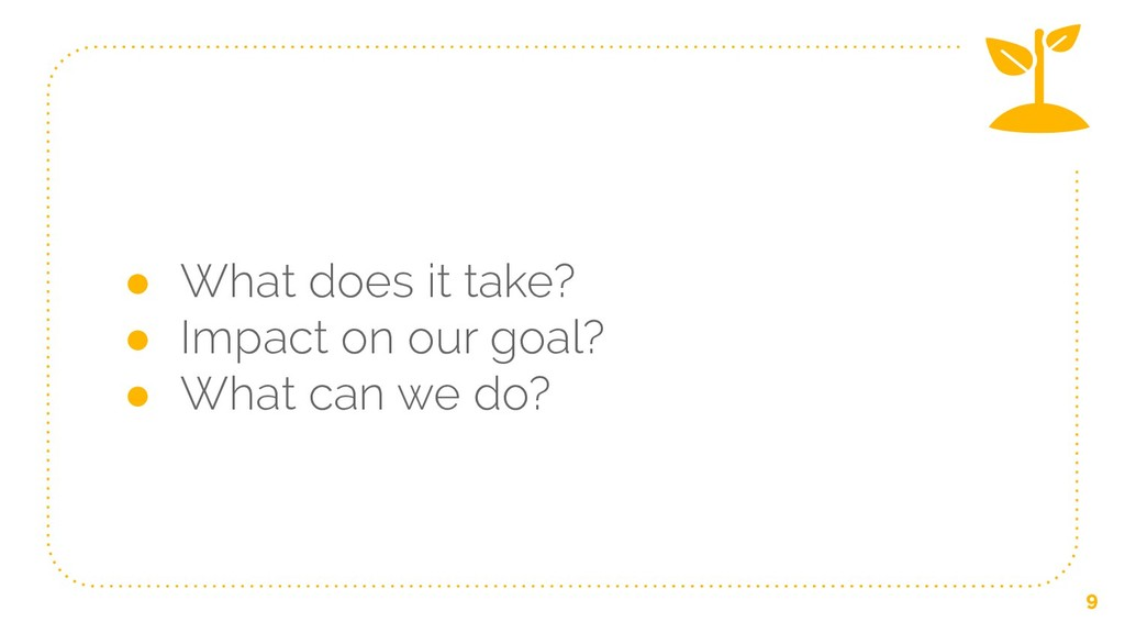 ● What does it take? ● Impact on our goal? ● Wh...