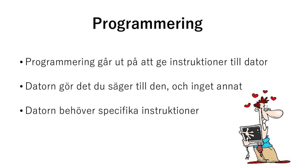 Programmering • Programmering går ut på att ge ...
