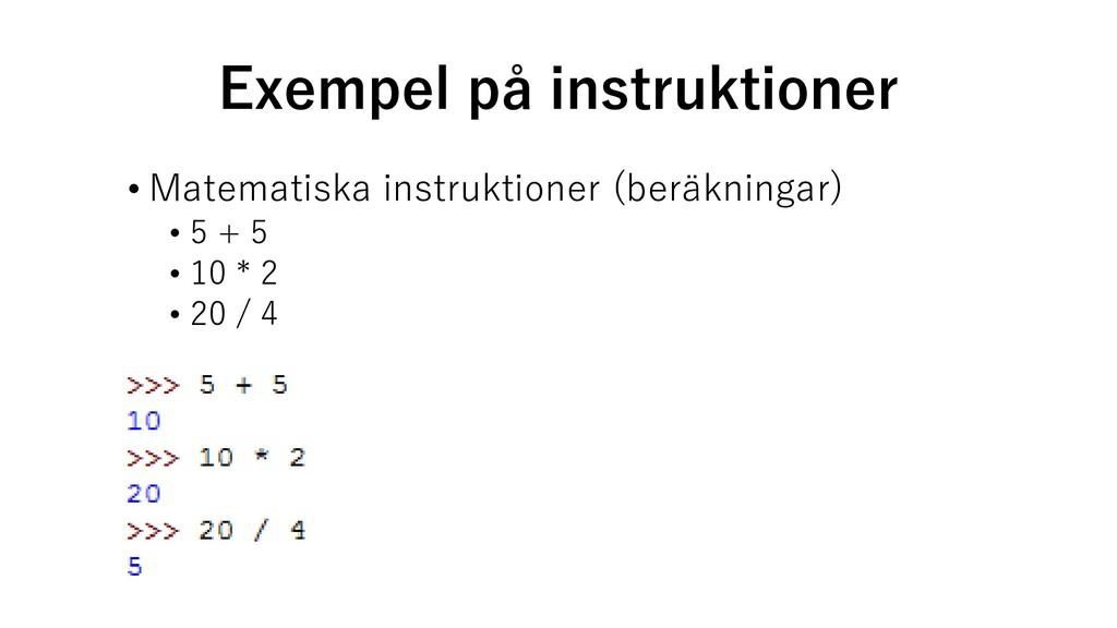 Exempel på instruktioner • Matematiska instrukt...