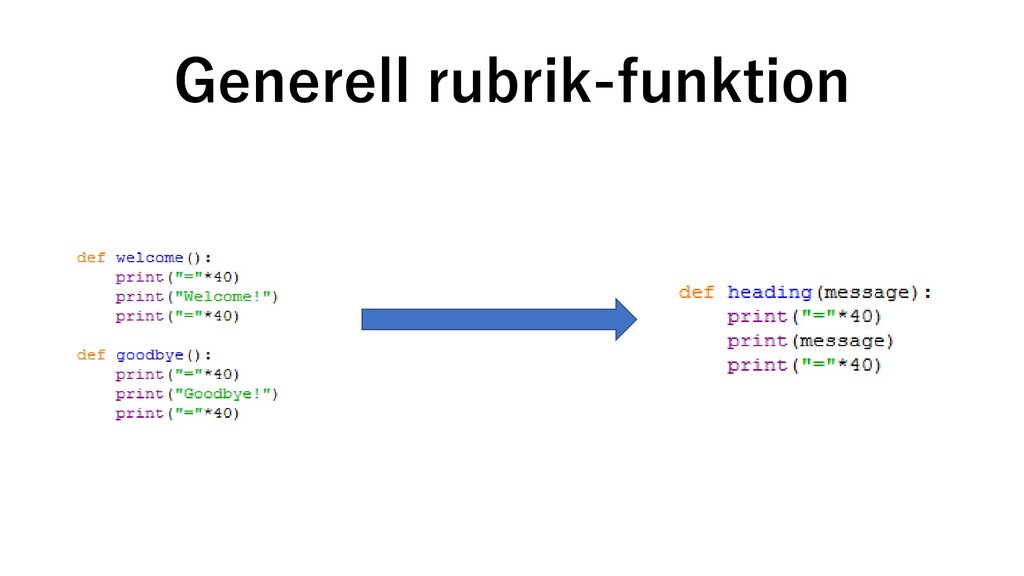 Generell rubrik-funktion