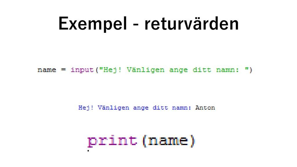 Exempel - returvärden