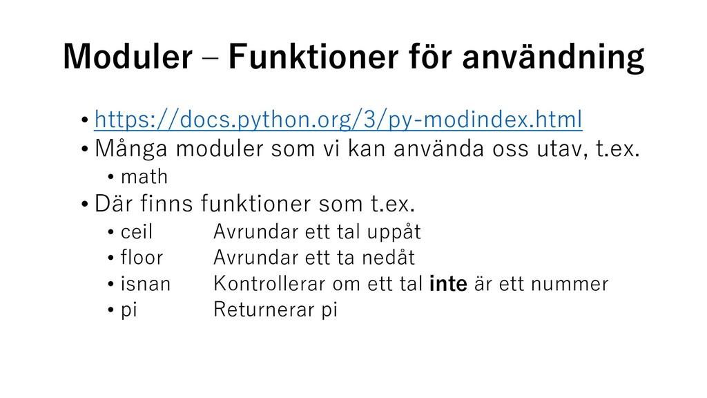 Moduler – Funktioner för användning • https://d...