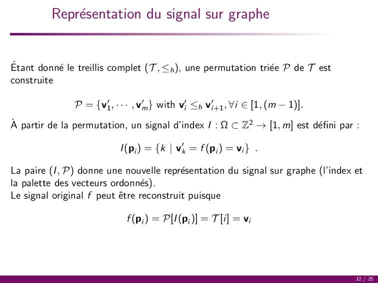 Repr´ esentation du signal sur graphe ´ Etant d...