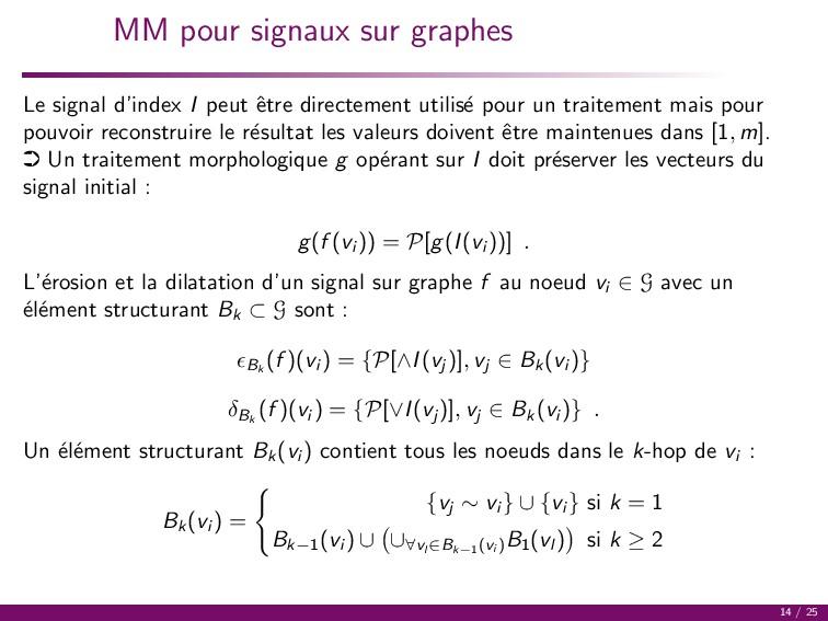 MM pour signaux sur graphes Le signal d'index I...