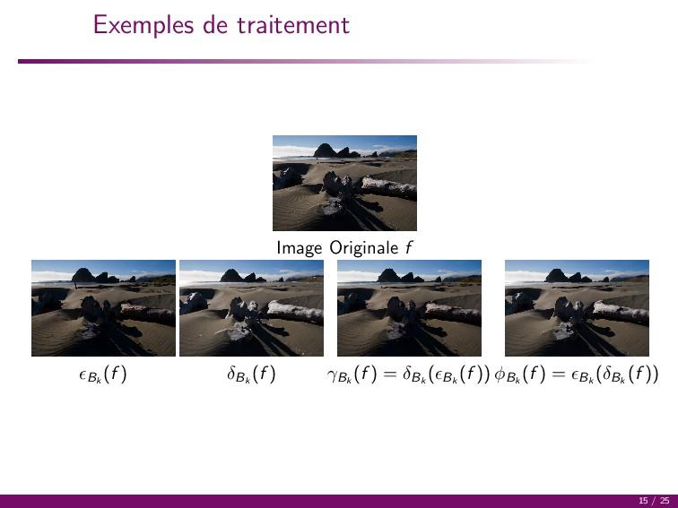 Exemples de traitement Image Originale f Bk (f ...