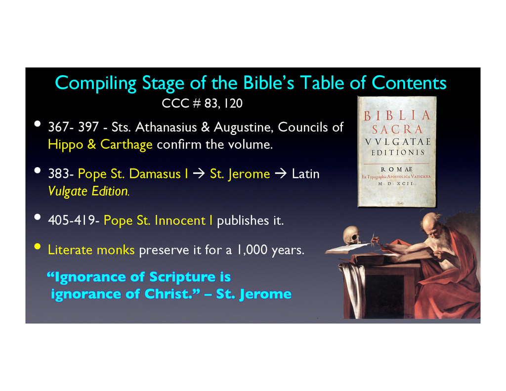 Compiling Stage of the Bible's Table of Content...