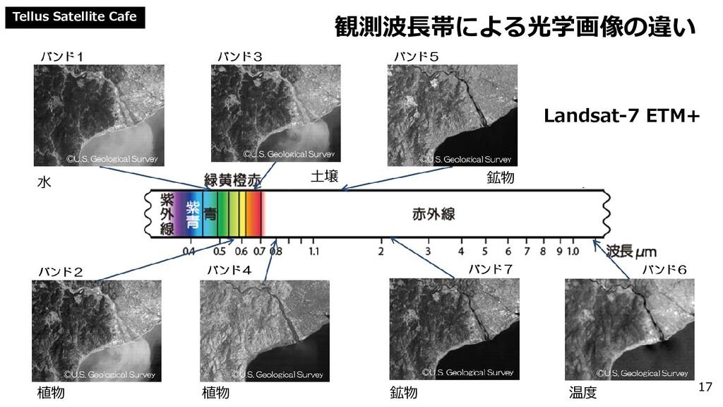 Tellus Satellite Cafe 観測波長帯による光学画像の違い 17 Landsa...