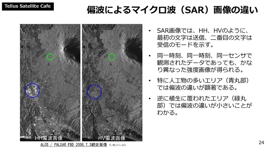 Tellus Satellite Cafe 偏波によるマイクロ波(SAR)画像の違い 24 •...