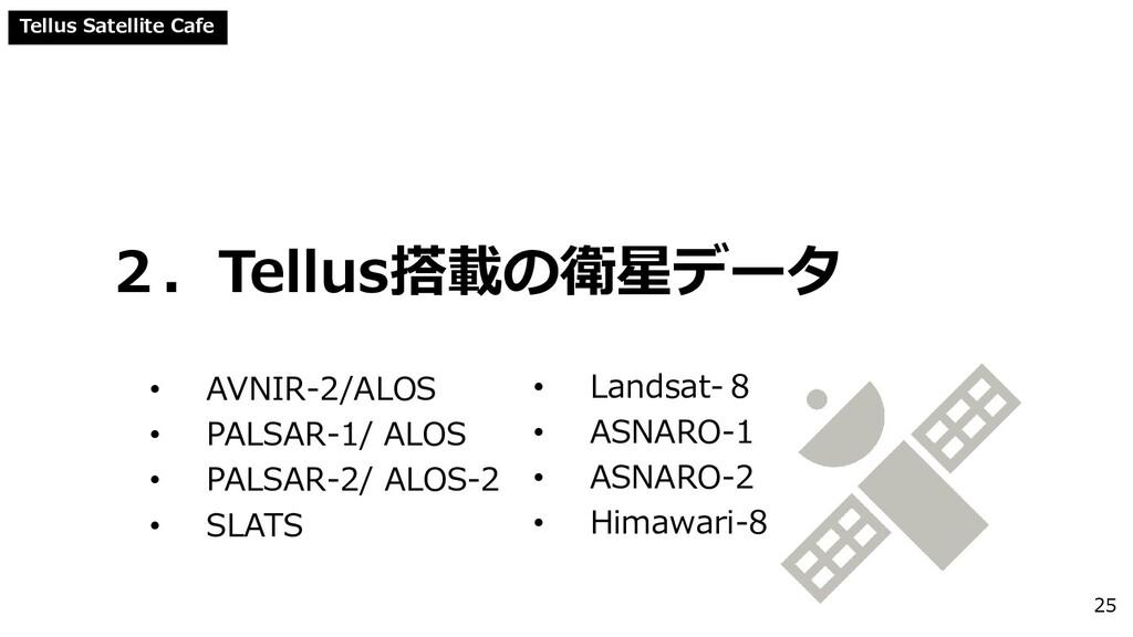 Tellus Satellite Cafe 2.Tellus搭載の衛星データ • AVNIR-...