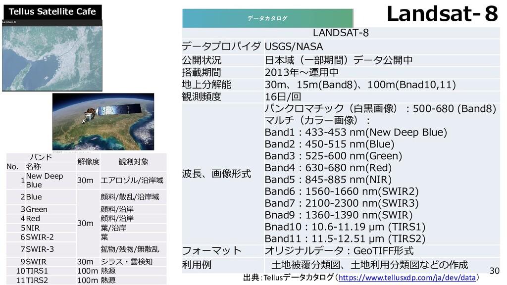 Tellus Satellite Cafe Landsat-8 LANDSAT-8 データプロ...
