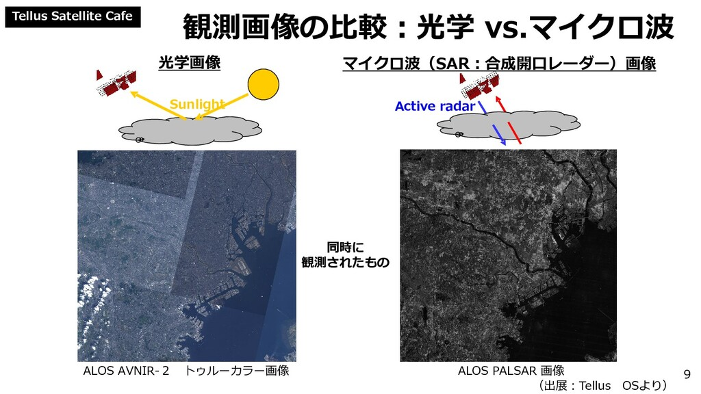 Tellus Satellite Cafe 光学画像 マイクロ波(SAR:合成開口レーダー)画...