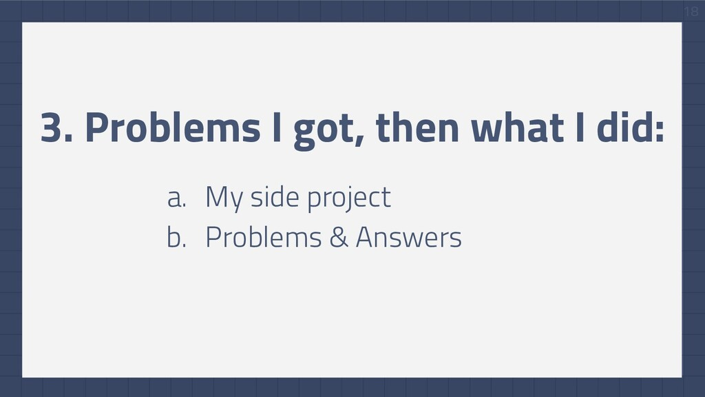 18 3. Problems I got, then what I did: a. My si...